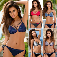 New Sexy Reflective Bikini Women Swimsuit Mesh Bathing Suit Strappy Bandage Swimwear S-2XL Backless Tong Bikini Micro Bikini Set