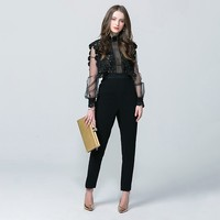 2020 New Arrival Jumpsuit Vintage High Waist Lantern Sleeve Women Jumpsuit Hollow Out Slim Fit Body Feminino Lace Mesh Bodysuit