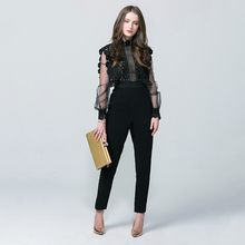 2020 New Arrival Jumpsuit Vintage High Waist Lantern Sleeve Women Jumpsuit Hollow Out Slim Fit Body Feminino Lace Mesh Bodysuit(China)