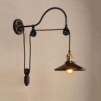 Americano retro lâmpada de parede loft vento industrial ferro polia levantamento barra lâmpada parede lâmpadas decorativas arandela luzes foyer|Luminárias de parede|   -