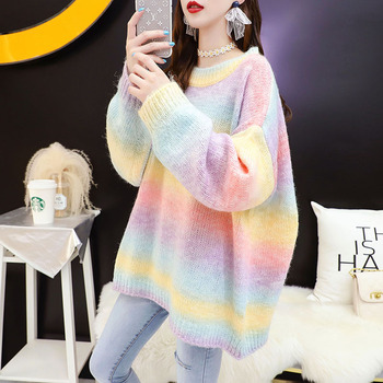 Autumn Winter Women Rainbow Sweater And Pullovers O-neck Long Loose Style Striped Korean Jumpers Candy Color Oversized Pull 2021 1