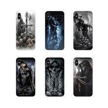 Para Samsung A10 A30 A40 A50 A60 A70 M30 Galaxy Note 2 3 4 5 8 9 10 PLUS Grim reaper esqueleto crânio Acessórios Do Telefone Casos de Escudo