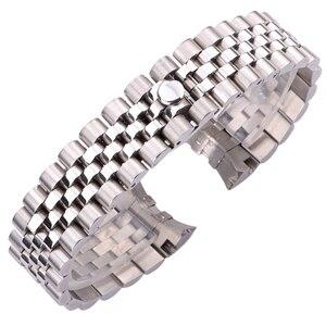 Image 2 - Zegarek ze stali nierdzewnej pasek pasek 20mm mężczyźni metalowe paski od zegarków zakrzywiony koniec srebrny moda kobiety stałe Link akcesoria do bransoletki
