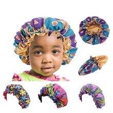 Африканских печатных ребенка капот двойных слоев атласной подкладке тюрбан шапочка Hat дети ночной сон крышка крышка головки ТБК-02