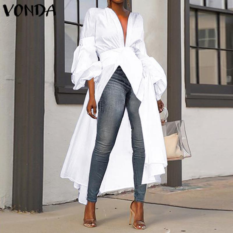 VONDA Casual Asymmetric Tops Women Long Blouse 2019 Autumn Long Lantern Sleeve Party Shirts Tunic Plus Size Blusas Feminina