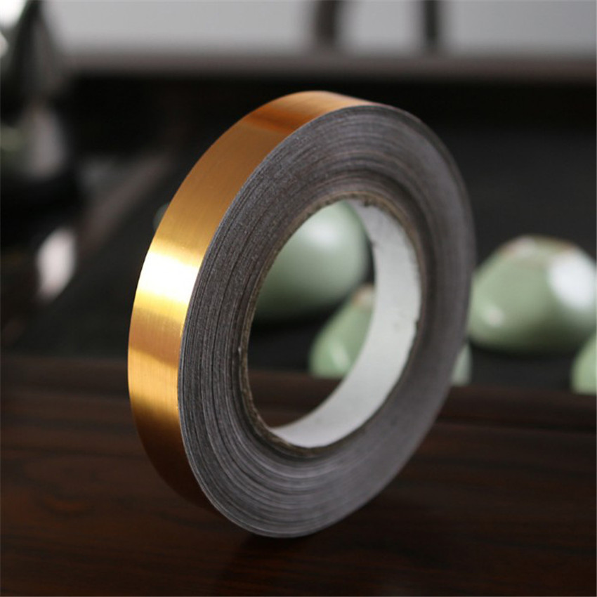 50m Sliver/ Gold Waterproof Gold Foil Line Self-adhesive Tape Masking Tape For Home Wall Gap Decorative Tile Floor Sticker Tape image