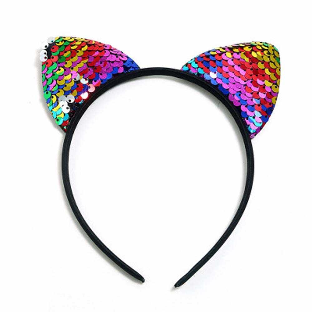 แฟชั่น Glitter เลื่อมแมวหู Hairband Headband ผม Hoop สำหรับผู้หญิงแมวหูผมฮาโลวีน Headdress ของขวัญ