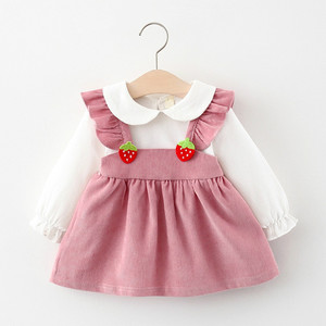 Melario Vestido Novo Outono Meninas Da Criança Do Bebê Recém-nascido Stawberry Princesa Vestidos de Babados Doce Roupas Casuais Crianças Vestido