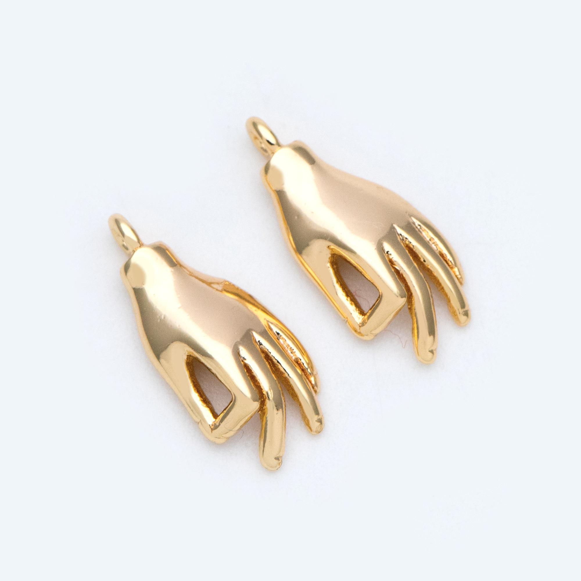 10pcs Gold Plated Brass Hand Charm, OK / Okay Gesture Pendants 15x7mm (GB-935)