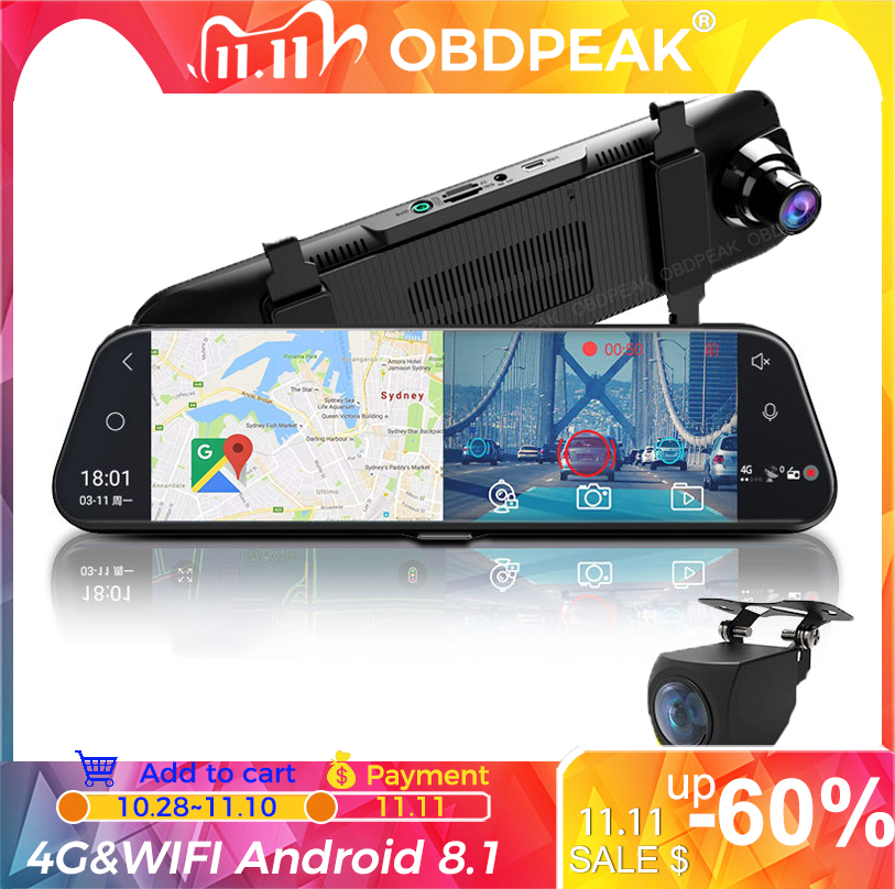 Dual 1080P 4G Android 8 1 10 Inch Stream Media Car Rearview Mirror Bluetooth Camera Car Dvr ADAS Super Night WiFi GPS Dash Cam