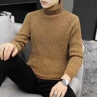 CYSINCOS свитер с высоким воротом, шерстяной пуловер и свитеры для мужчин, полосатый мужской джемпер с высоким воротом, повседневный теплый выс...
