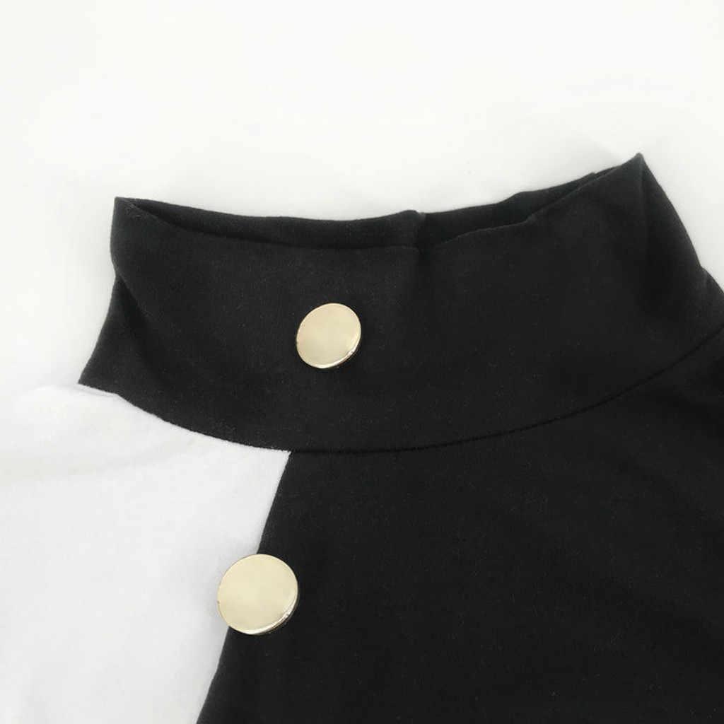 Femme Stretch Blouse Sexy à manches longues Colorblock col haut Dottoming pull mince hauts automne hiver mode décontracté chemise # A