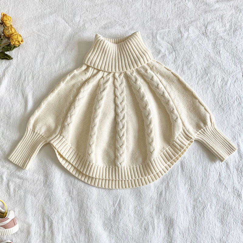 New Autumn Winter Kids Girls Long Sleeve Knit Turtleneck Sweater Cloak Children Clothing Baby Kids Girls Pullover Sweaters 1