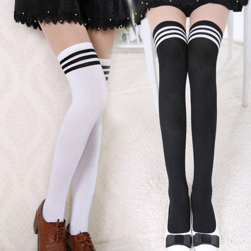 Сексуальные черные белые полосатые длинные носки, женские гольфы выше колена, чулки выше колена для женщин, теплые гольфы для девочек