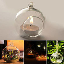 Creative Romantic Glass Candle Holder Crystal Candlestick Wedding Dinner Hanging Decor Holders