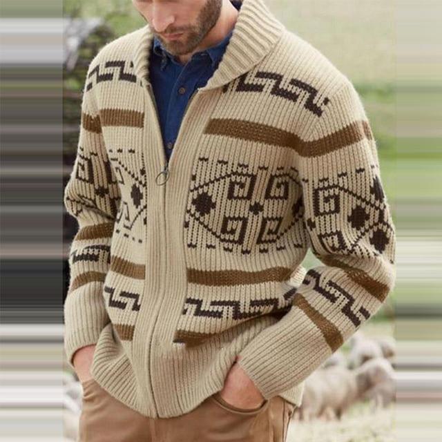 Мужской трикотажный свитер на молнии с оригинальным рисунком 2