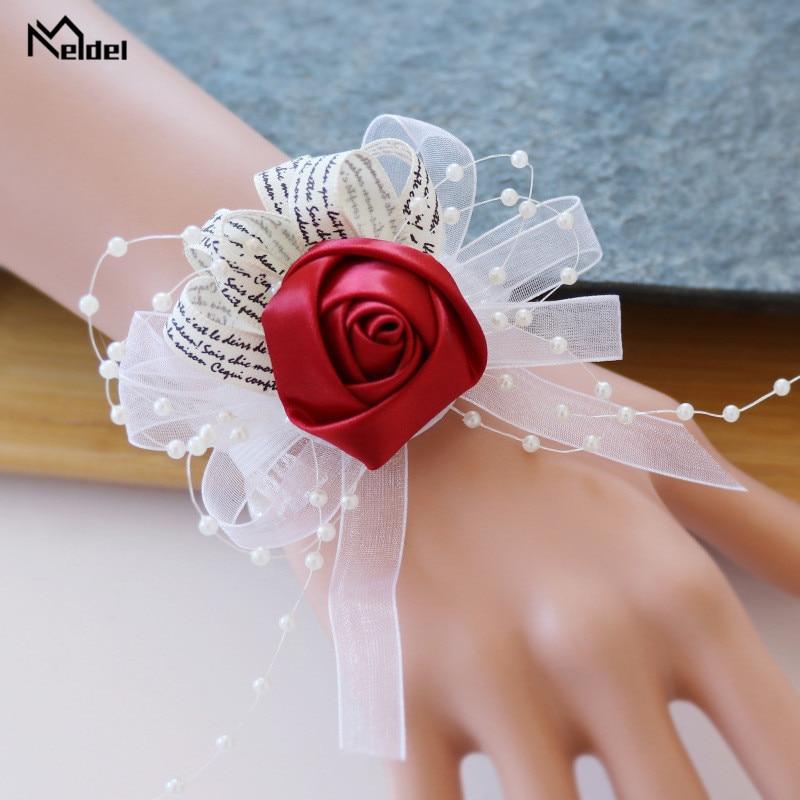 Meldel Wrist Corsage Bride Wedding Boutonniere Bridesmaid Wrist Flower Bracelet Party Prom Corsage Silk Rose Wedding Accessories