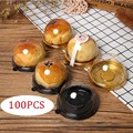 Новинка 100 шт., круглая пластиковая коробка для пирожных в форме Луны, упаковочный контейнер для яичного желтка, прозрачные купольные коробк...
