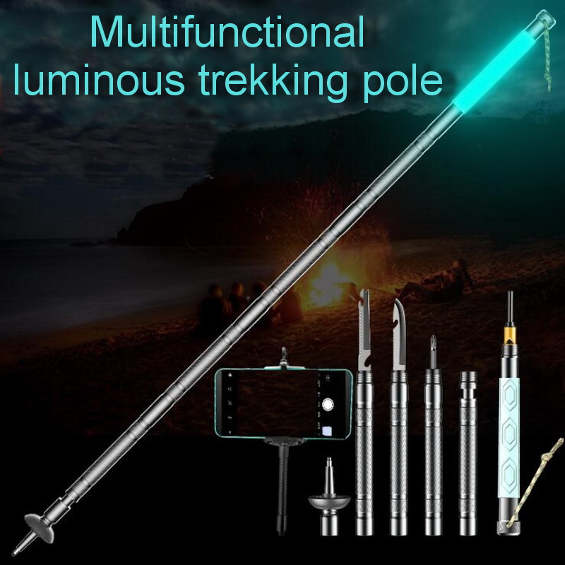 Outdoor survival multi-tool, folding silicone luminous trekking pole, aluminum outdoor hiking hiking stick, shooting bracket