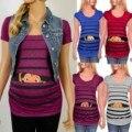 Милые летние полосатые футболки для беременных с героями мультфильмов, топы, мягкая тонкая одежда для беременных, футболки больших размеро...