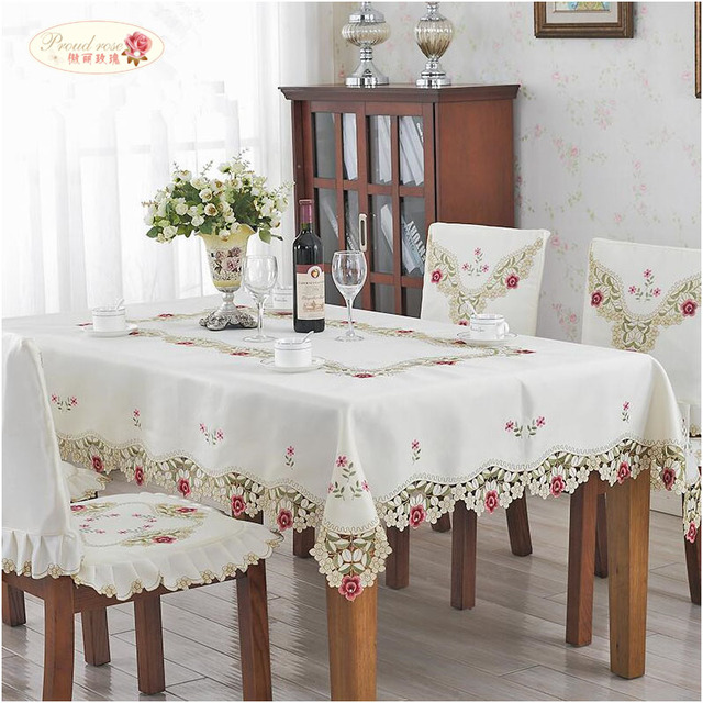 Proud Rose Rural Style Tablecloth  Rectangle Table Cover TV Ark Cover Cloth Embroidered Tablecloth Wedding Table Cloth