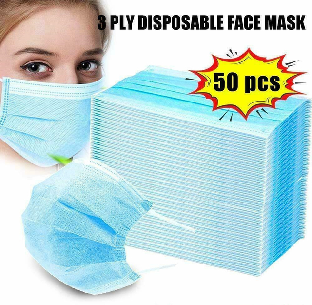 50 Pcs Wholesale Disposable Face Masks Salon Flu Mask Non-Woven Mask Anti-Dust Face masker sensi