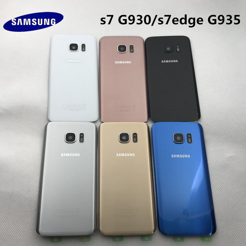 Battery Glass SAMSUNG Galaxy S7 G930 S7 Edge G935 Back Battery Cover Door Rear Housing Case Replacement + Adhesive Sticker