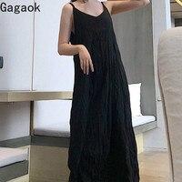 Женское платье с v-образным вырезом Gagaok, повседневное свободное платье до середины икры на тонких бретелях, весна 2020