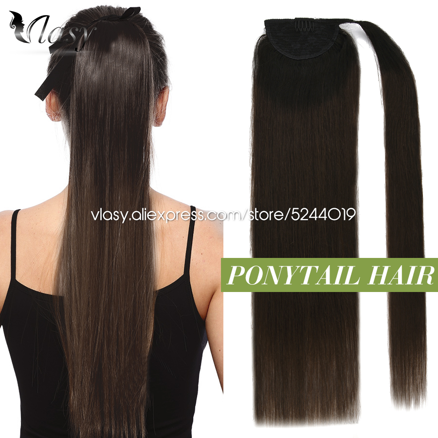 Vlasy 12''-24'' Ponytail Machine Remy Hair Straight European Ponytail Strap Wrap Around Clip in Extensions Horsetail For Women