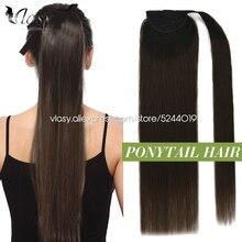 Vlasy – Extensions queue de cheval pour femmes, 12 à 24 pouces, cheveux Remy lisses, queue de cheval européenne, à enrouler, avec Clip