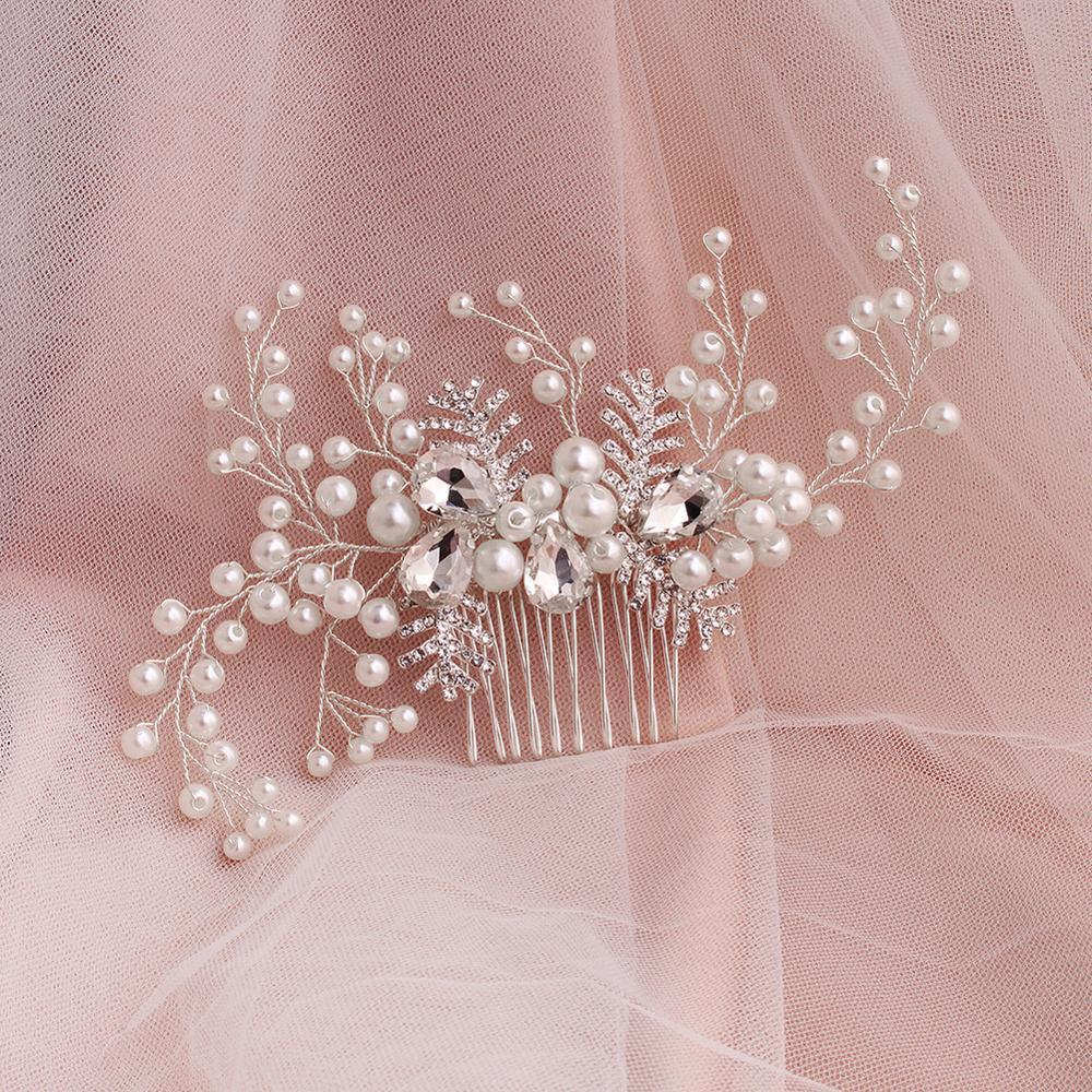 Wedding Pearls Crystal Wedding Hair Comb Handmade Bridal Headdress Hair Jewelry Accessories For Women FS124