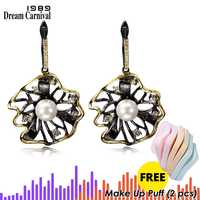 DreamCarnival 1989 Lotus Flower Earrings Hollow Created Pearl CZ Black Gold Color Hip Hop Pendientes tipo gota Parties Jewelries