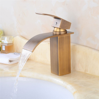 Vidric New Arrival brass Basin Faucet hot and cold Antique Waterfall Faucet single lever bathroom sink faucet basin tap Lavatory
