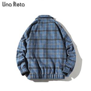 Image 3 - Мужская шерстяная клетчатая куртка Una Reta, повседневная винтажная однобортная куртка в стиле хип хоп, верхняя одежда на осень