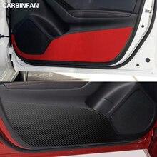 Автомобильный Стайлинг боковой двери внутренняя наклейка анти-удар Защитная углеродное волокно Флим наклейка 4 шт./компл. для Mazda 3 Axela