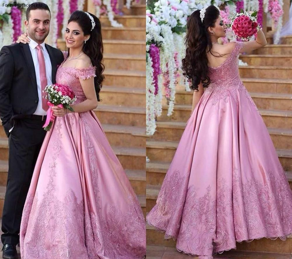 Beautiful Pink Wedding Dress Saudi Arabia Princess Off Shoulder Lace Bridal Gown Plus Size