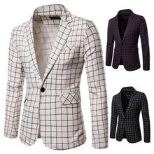 2019 mens casual long-sleeved large plaid slim suit autumn and winter new brand fashion button jacket