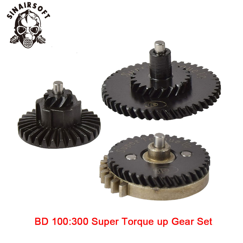 Hot BD CNC 100:300 Reinforcement Helical Super Torque Gear Set Fit Ver.2 / 3 AEG Airsoft Gearbox For Hunting Paintball Shooting