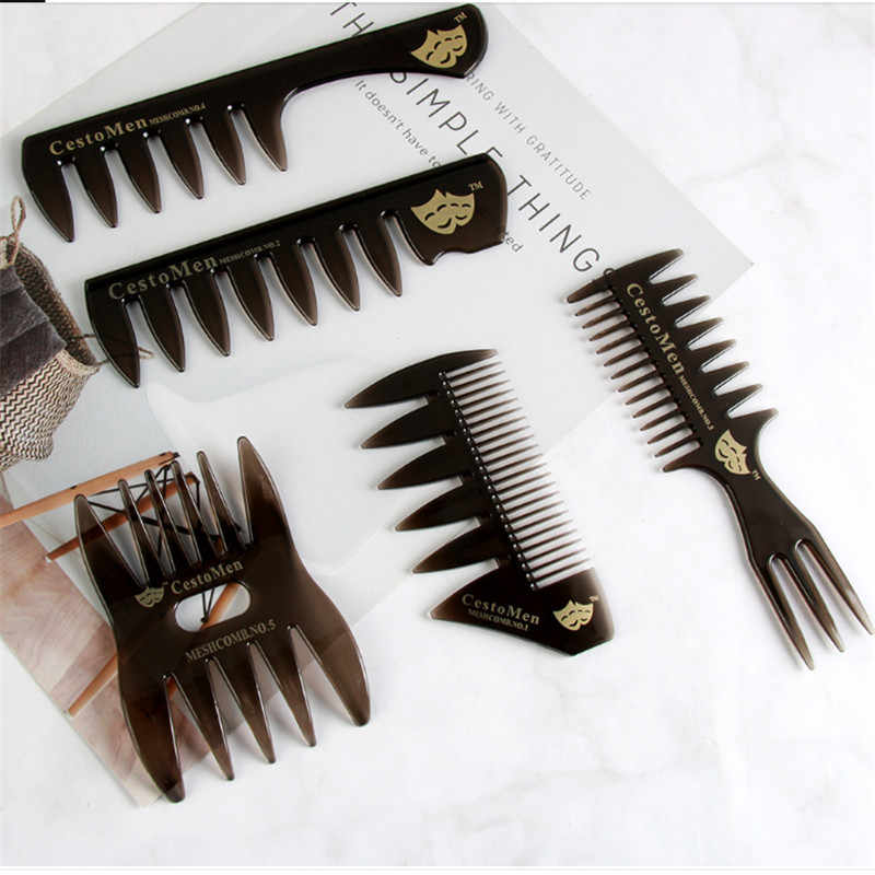 1pc ホットな新ワイド歯ヘアブラシ櫛男性のひげ理髪ブラシ理髪店スタイリングツールサロンアクセサリーアフロ髪型