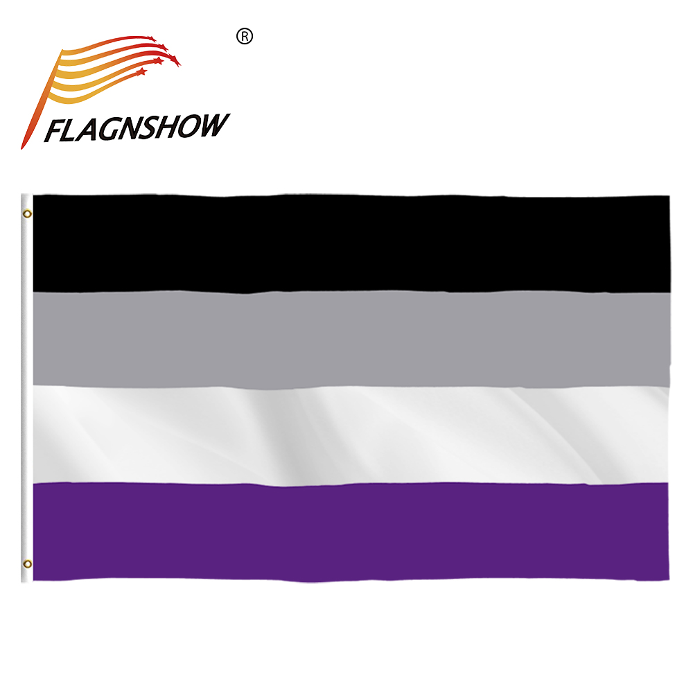 Flagnshow Bandera LGBT 90 x150cm Asexual Gay Pride Rainbow Nonsexual Gender Flag