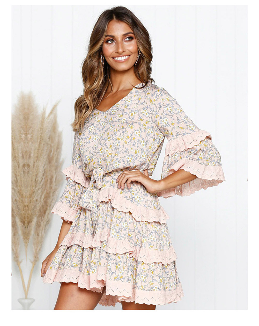 Vintage Floral Pleated V neck Mid Sleeve Short Mini Ruffles Dress 7