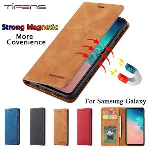 Leather Flip Case For Samsung A51 A71 A50 S A70 A40 A30 A20 A10 S9 S8 S7 Edge S10 E S20 Ultra A7 A8 Note 9 10 Plus Magnet Cover(China)