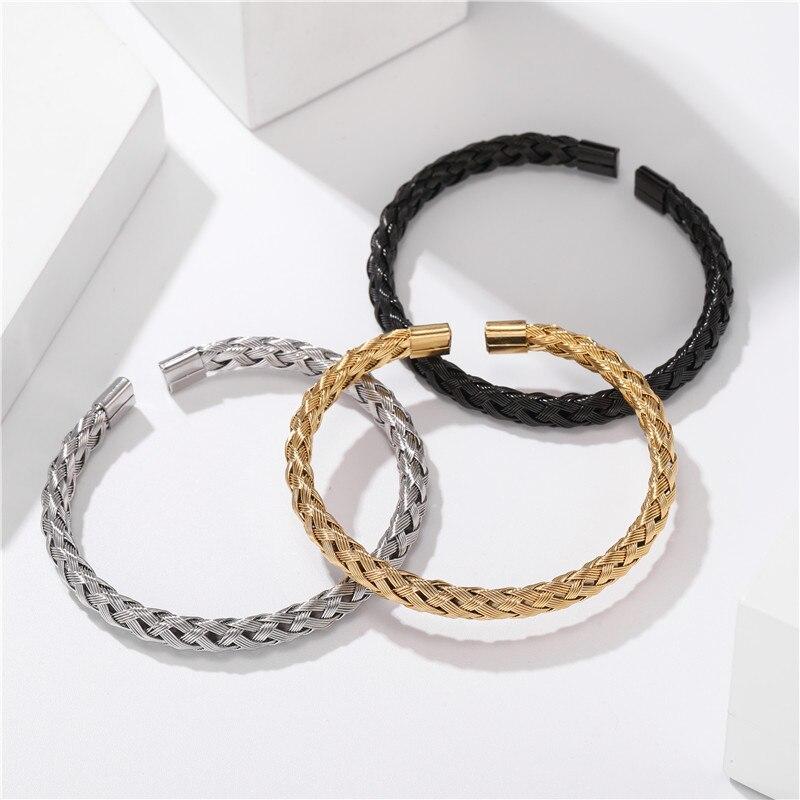 Bracelet Or/acier inoxydable titane hommes 5