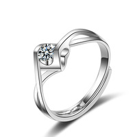 DR2094 Simple Woman Crystal 925 Standard Sterling Silver Ring Wedding Engagement jewelry