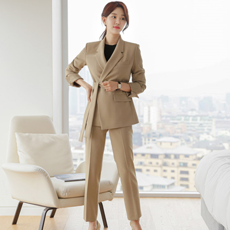New Autumn winter Fashion Work Women's Business Pants Suits High-end Blazer With Belt Pants Suit For Girls 2 Pieces Set Ensemble