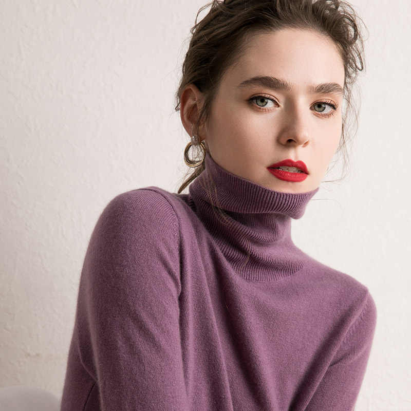 2019 Women's 100% Cashmere Turtleneck Knit Pullover 18 Fashion Colors Soft Yarn Basic Pure Cashmere Jumper Trend Brand Sweater