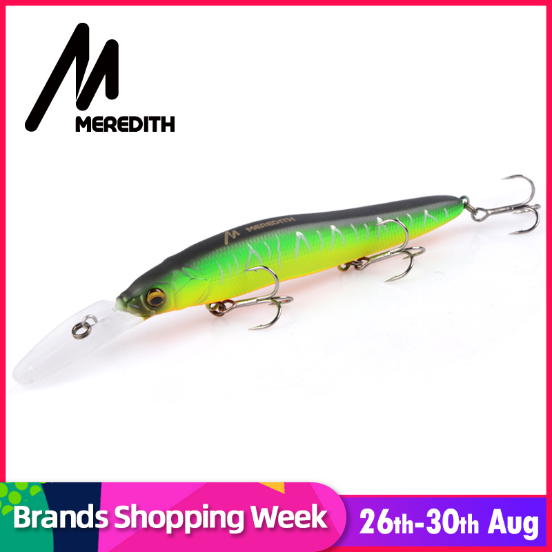 MEREDITH Minnow Wobbler Fishing Lures 110mm 15.8g Artificial Hard Bait Depth 0-3m Slow Floating Jerkbait Bass Pike Bait Tackle