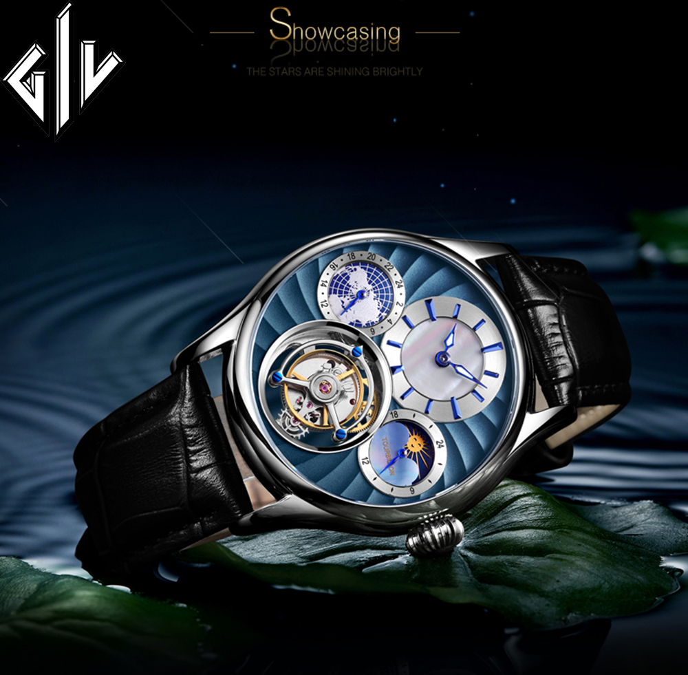GIV Business Watch Men Tourbillon Mechanical Watch Hand Wind Top Luxury Brand Sapphire Fashion Waterproof Male Montre Homme