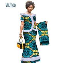 Nuevas blusas drapeadas y faldas africanas Vintage con envoltorio para la cabeza para mujer Bazin africano conjunto de falda de 2 piezas WY3171