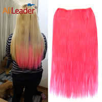 Alileader 22 Inch Ombre Blue Flip Wire Fish Line Hairpiece Natural Long Silk Straight Invisible Halo Hair Extensions Synthetic